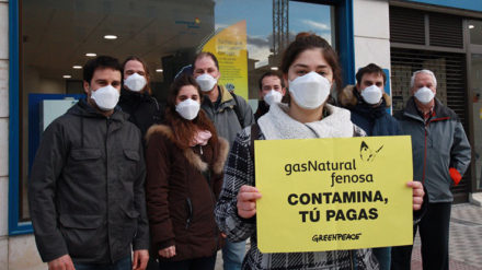 Protesta de Greenpeace contra Gas Natural Fenosa. FOTO: GREENPEACE: