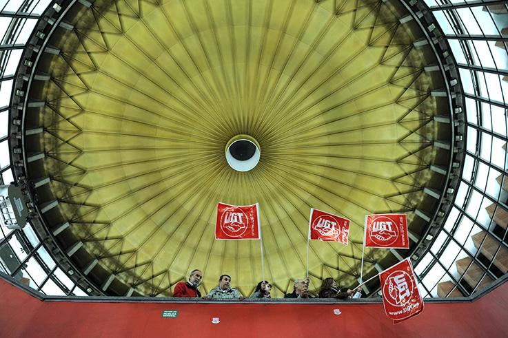 Sindicalistas de UGT durante la una huelga general en Madrid. FOTO: FERNANDO SÁNCHEZ.