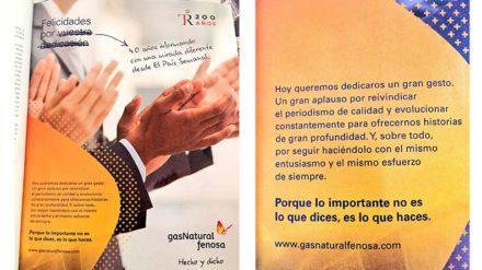 Gas Natural Fenosa felicita a El País con un mensaje a doble página. FOTO: LA MAREA.