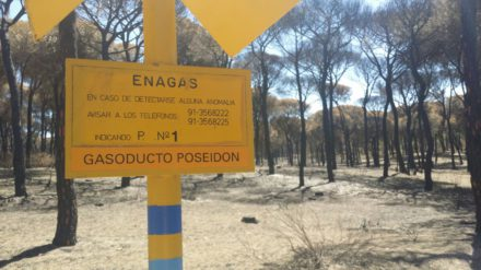 Infraestructura de Enagás en una zona quemada de Doñana. Foto: José Manuel Cantó.