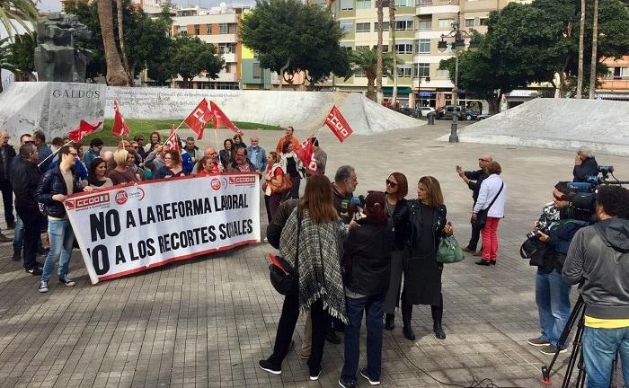 Protesta de CCOO Endesa contra los recortes sociales y la precariedad laboral. Foto: CCOO.